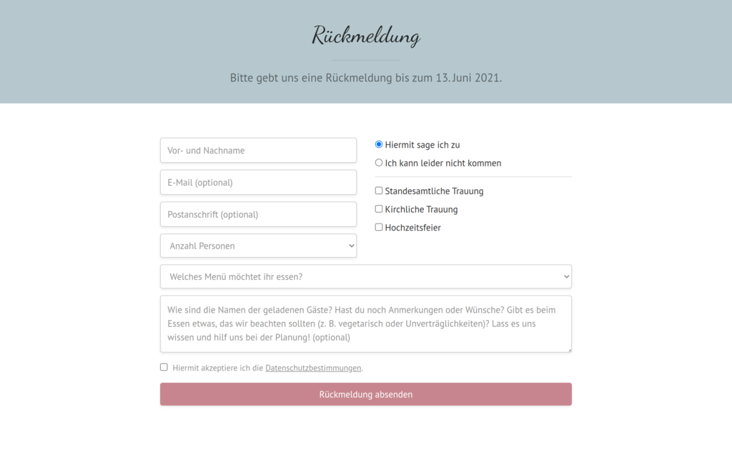 Rückmeldeformular Screenshot